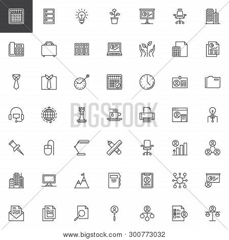 Office And Corporate Business Line Icons Set. Linear Style Symbols Collection, Outline Signs Pack. V