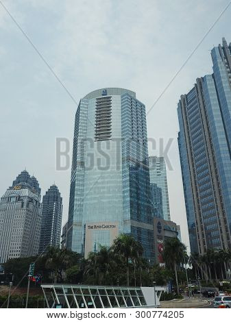 Jakarta, Indonesia - April 17, 2019: Background Of Tall Buildings At Sudirman Central Business Distr