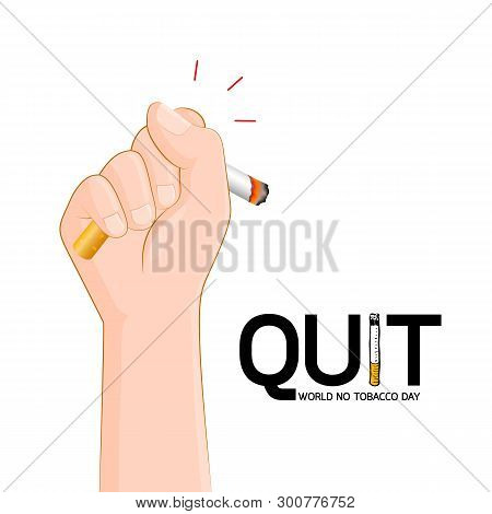 Human Hand Crushing Cigarette. Quitting Smoking Concept.  World No Tobacco Day. Illustration Isolate