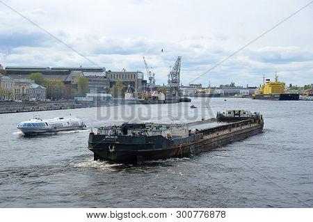 Saint-petersburg, Russia - 05 May, 2019: Icebreaker Kapitan Sorokin And Dry Cargo Ship Nevsky-35 On