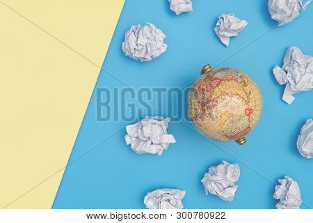 Vintage Globe In Blue Sky With Paper Cloud On Pink Yellow Copy Space