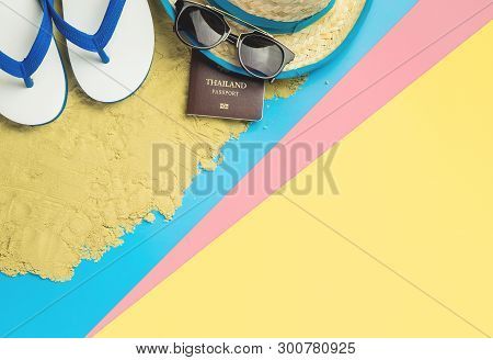 Summer Beach Vacation Travel Equipment And Fashion On Blue Pink Yellow