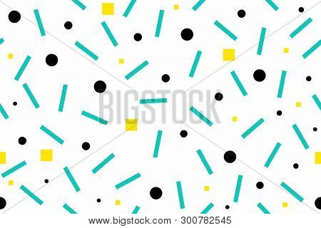 Abstract Background Of Geometric Shapes In Different Colors. Seamless Texture Of Wrapping Paper. Eps