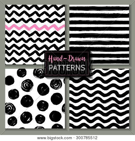 Set Of Hand Drawn Ink Seamless Patterns. Endless Vector Backgrounds Of Simple Primitive Scratchy Tex