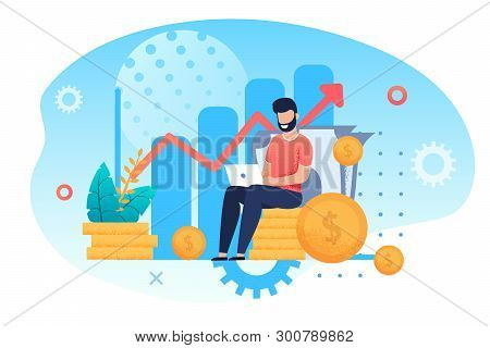 Investment And Analysis Money Cash Profits Metaphor. Freelancer, Employee Or Manager Making Investin