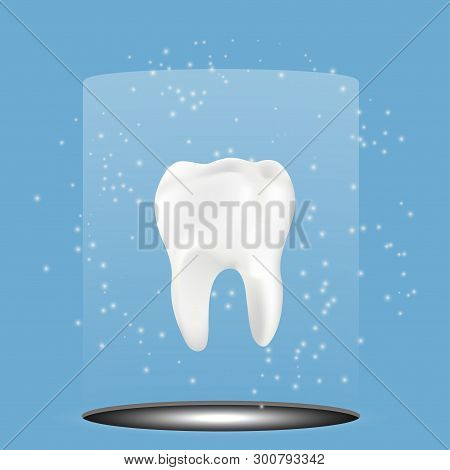 Healthy Tooth With Glowing Effect, Teeth Whitening Concept ,vector Illustration