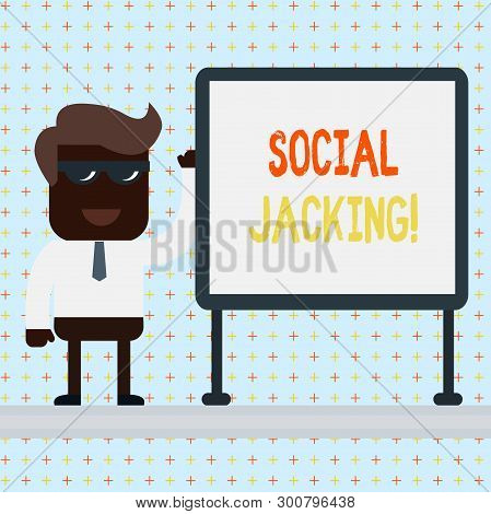 Text sign showing Social Jacking. Conceptual photo Spiteful method tricking the user to click vulnerable buttons. poster
