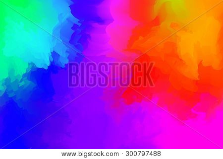 Abstract Colorful Mixed For Background, Rainbow Watercolor Stains Paint For Card Banner Advertising,