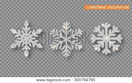 Silver Christmas Decoration Set. Silver Glitter Covered Snowflake