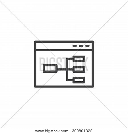 Website Flowchart Line Icon. Wireframe Linear Style Sign For Mobile Concept And Web Design. Sitemap