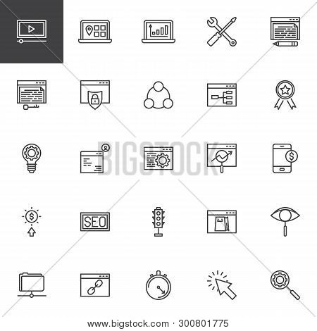 Search Engine Optimization Line Icons Set. Linear Style Symbols Collection, Outline Signs Pack. Vect