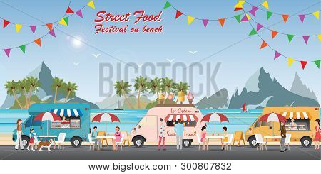 Street Food Truck Festival On Beach With Food And Drink, With People Buying And Eating Food, Street