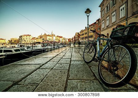 Beautiful Romantic Old Town Of Rovinj In Croatia. The Coastal City Of Rovinj Situated In Istria Peni