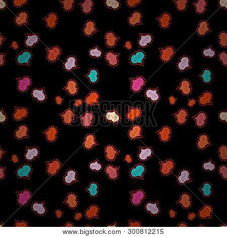 Doodles On A Black, Red And Orange Colors. Seamless Pattern Beautiful Fabric Background. Vector Text