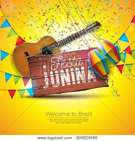 Festa Junina Illustration With Acoustic Guitar, Party Flags And Paper Lantern On Yellow Background.