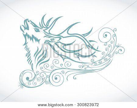 Snow Deer Decoration - Vector Illustration - Vector
