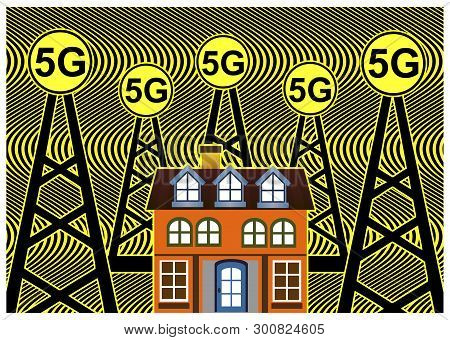 Health Risks With 5g Networks. Smart Homes Are Exposed To Harmful Fm Radiation From Cell Towers Acco