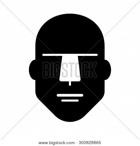 Flat Icon Of A Male Human Head. Vector Illustration.