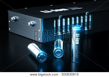 Modern Lithium Ion Battery Technology Concept. Metal Li-ion Battery Cells With Electric Vehicle Batt