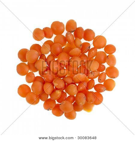 Red Lentils Isolated on White Background