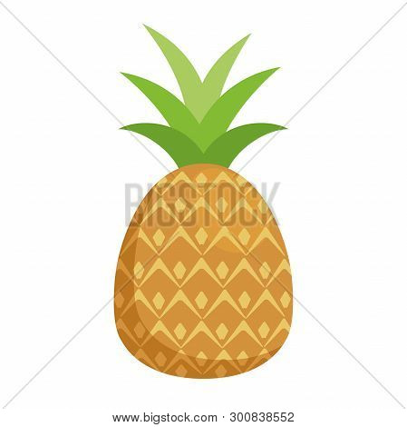 Illustration Of A Pineapple Flat Icon On A White Background