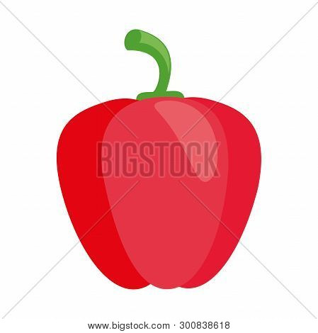 Illustration Of A Red Pepper Flat Icon On A White Background