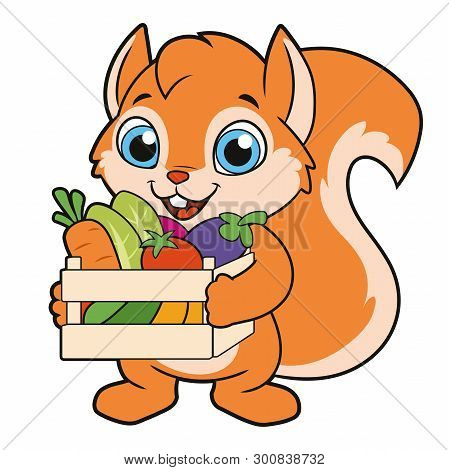Illustration Of A Squirrel With A Crate Of Vegetables On A White Background 2