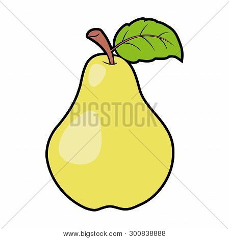 Illustration Of A Sweet Yellow Pear On A White Background