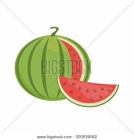 Illustration Of A Watermelon Flat Icon On A White Background