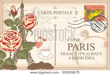 Retro Postcard With Eiffel Tower In Paris, France. Romantic Vector Postcard With Roses, Postmark, Po