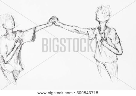 Sketch Of Couple Holding Hands, Hand-drawn By Black Pencil On White Paper