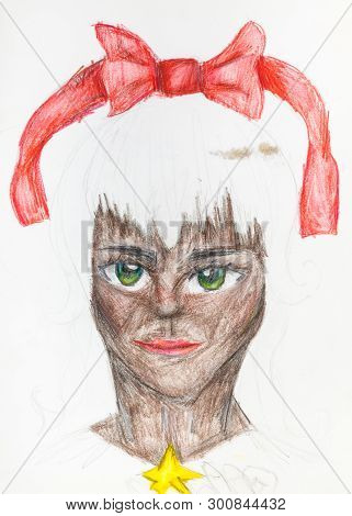 Portrait Of Catwoman With A Red Bow In White Hair Hand-drawn By Pencils On White Papery Colour Penci