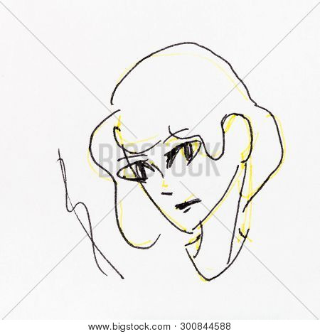 Sketch Of Head Of Attentive Girl Hand-drawn By Yellow Pencil And Black Ink On White Paper
