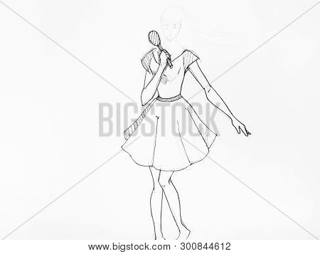 Sketch Of Dancing Girl In Short Wide Dress With Microphone Hand-drawn By Black Pencil And Ink On Whi