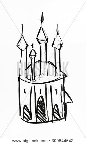 Sketch Of Fancy Castle With Towers Hand-drawn By Black Ink On White Paper