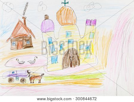 Country Landscape With Church, Pond And Hut Hand-drawn By Colour Pencils On White Paper