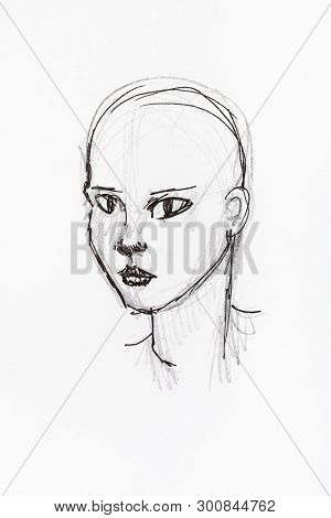 Sketch Of Bald Female Head Hand-drawn By Black Pencil And Ink On White Paper