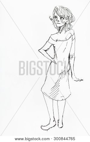 Sketch Of Waiting Woman Hand-drawn By Black Ink On White Paper