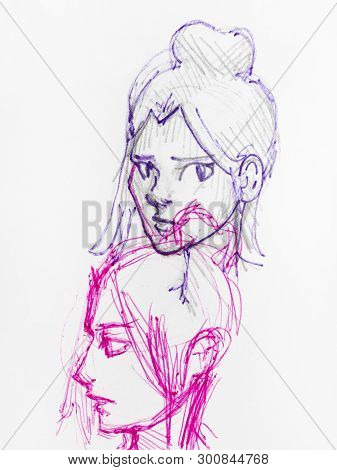 Sketches Of Female Heads With Bun Hairstyle Hand-drawn By Blue And Pink Inks On White Paper
