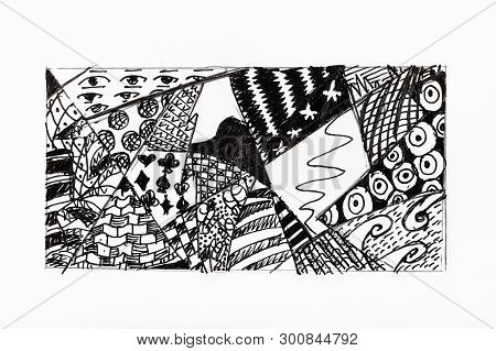 Abstract Ornament Hand-drawn By Black Ink On White Paper