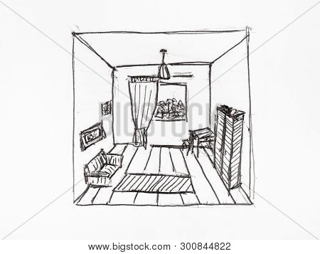 Convergence Of Perspective Lines In Appartment Room Hand-drawn By Black Ink On White Paper