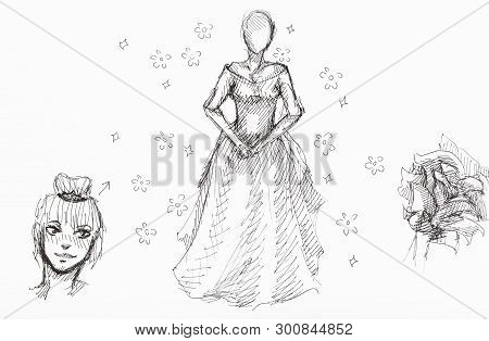 Sketches Of Lady's Figure, Girl's Head And Flowers