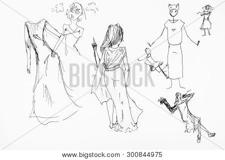 Sketches Of Female Figures In Long Dresses Hand-drawn By Black Ink On White Paper