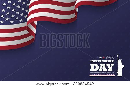 4th Of July Happy Independence Day Of America Background . Statue Of Liberty Flat Silhouette Design