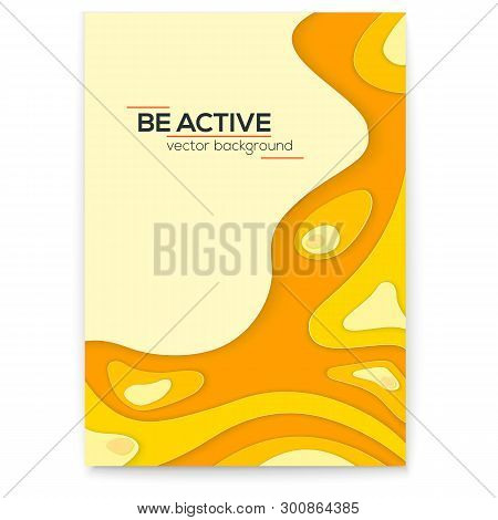 Dynamic Papercut 3d Poster. Yellow Liquid Wavy Form With Shadow In Minimalistic Style. Abstract Mult
