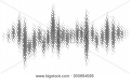 Halftone Pattern Audio Waveform. Sound Wave Spectrum. Modern Design Rhythm Of Heart. Abstract Dotted