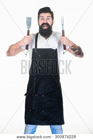 Kitchen Utensils For Keeping Hands Far Away From Heat. Grill Cook With Fork And Spatula Cooking Uten