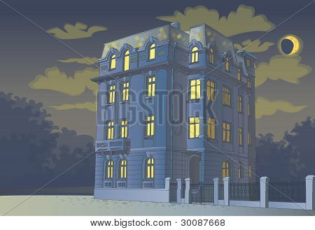 victorian tall house at midnight