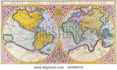 16th century lithograph of the world in latin