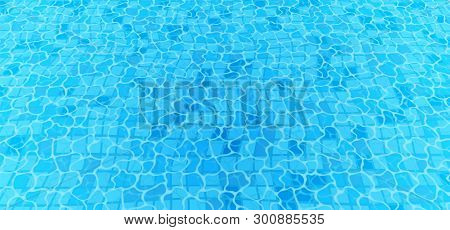 Swimming Pool Bottom Caustics Ripple And Flow With Waves Background. Seamless Blue Ripples Pattern.